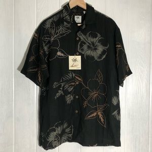 New Brigata Hawaiian Aloha Shirt Black M Hibiscus